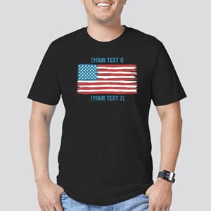 [Your Text] 'Handmade' US Flag Men's Fitted T-Shir